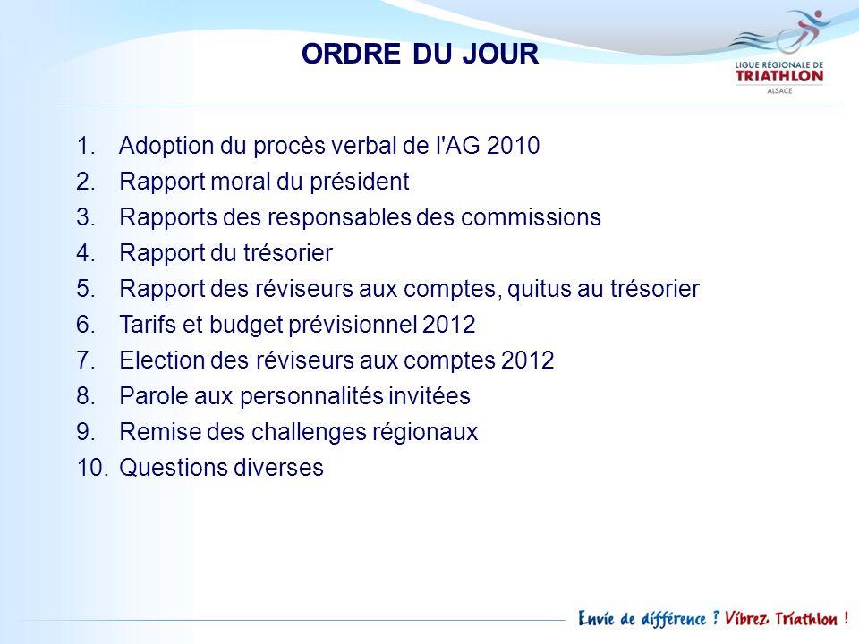 ORDRE DU JOUR 1.Adoption du procès verbal de l'AG 2010 2.Rapport moral du président 3.Rapports des responsables des commissions 4.Rapport du trésorier