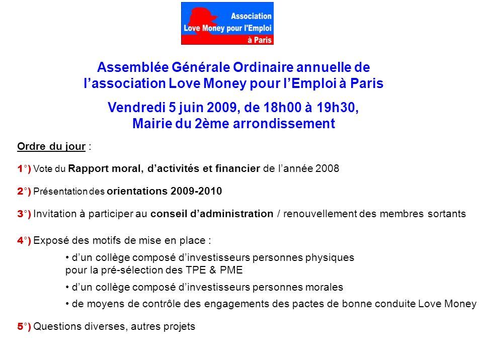Ordre du jour : 1°) Vote du Rapport moral, dactivités et financier de lannée 2008 2°) Présentation des orientations 2009-2010 3°) Invitation à partici