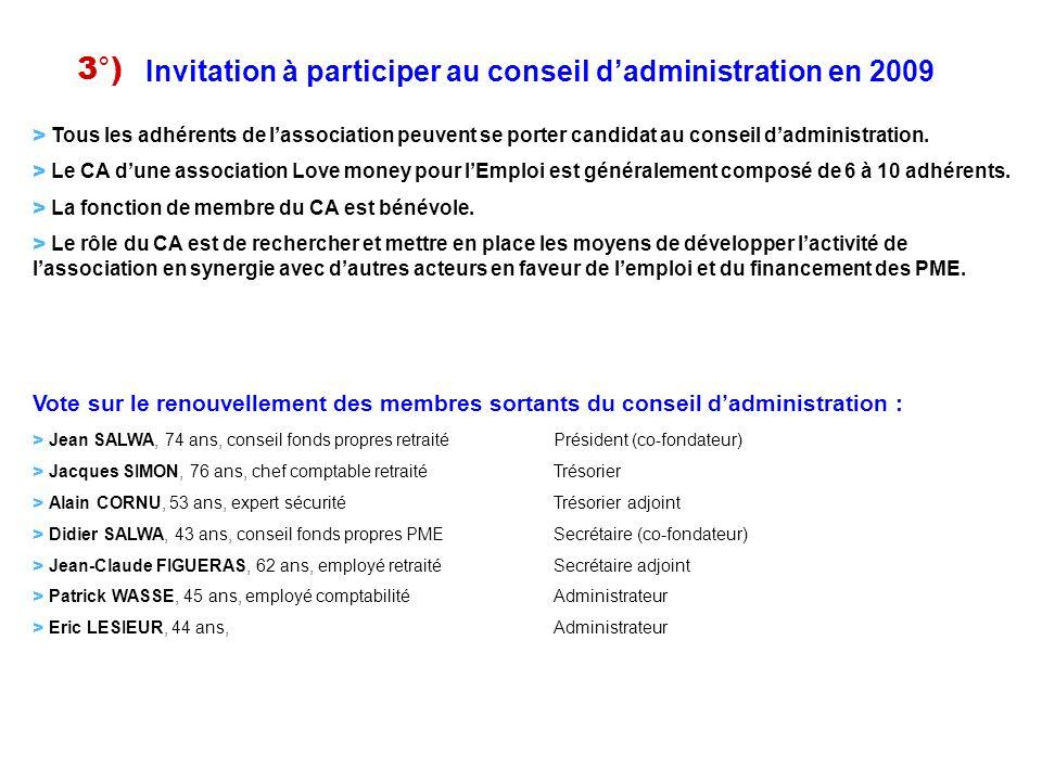 > Tous les adhérents de lassociation peuvent se porter candidat au conseil dadministration. > Le CA dune association Love money pour lEmploi est génér