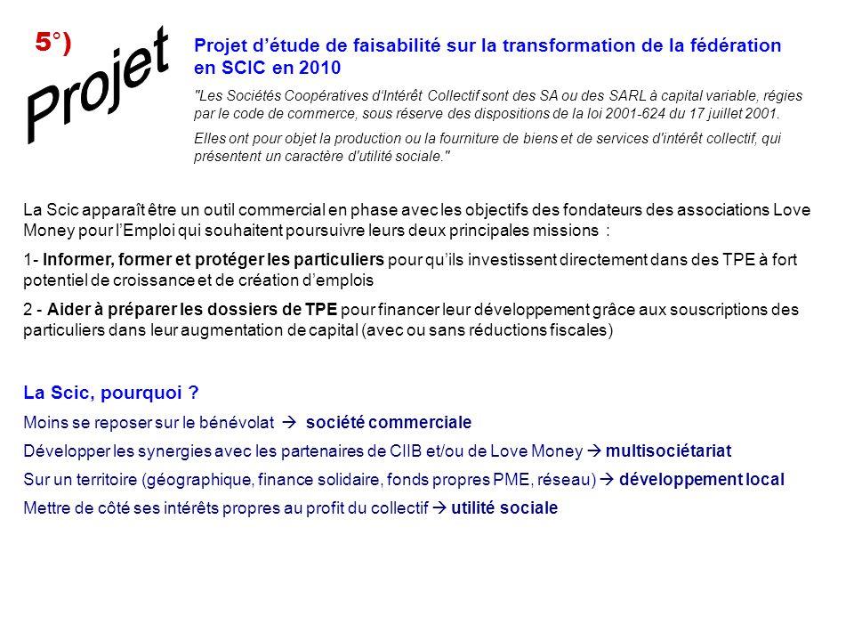 Projet détude de faisabilité sur la transformation de la fédération en SCIC en 2010