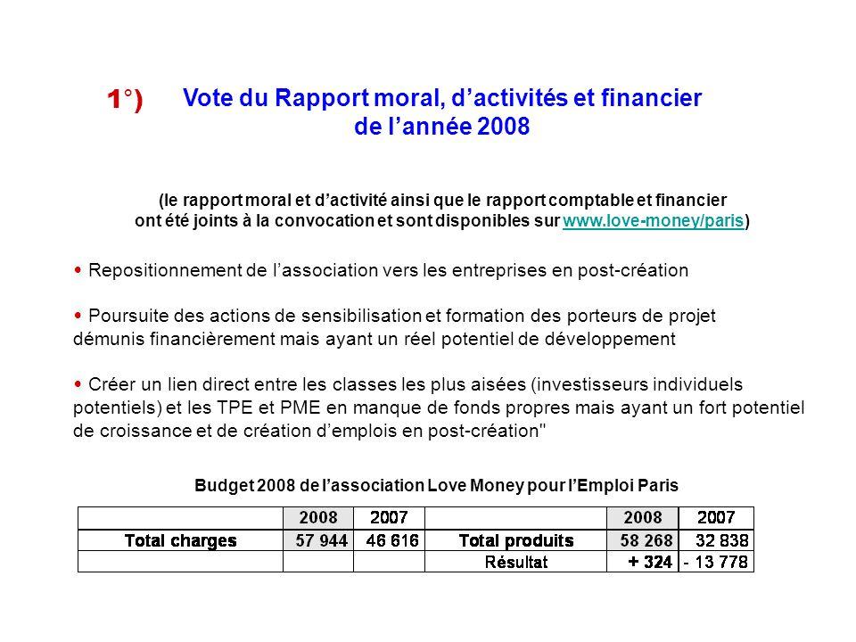 Vote du Rapport moral, dactivités et financier de lannée 2008 1°) (le rapport moral et dactivité ainsi que le rapport comptable et financier ont été j