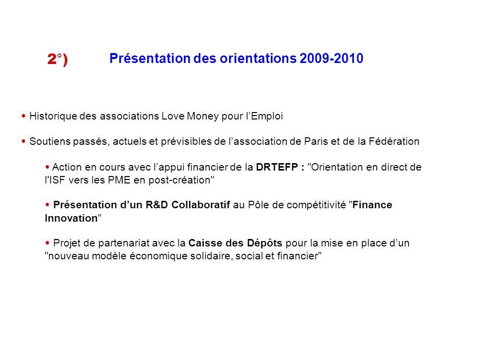 Présentation des orientations 2009-2010 Historique des associations Love Money pour lEmploi Soutiens passés, actuels et prévisibles de lassociation de