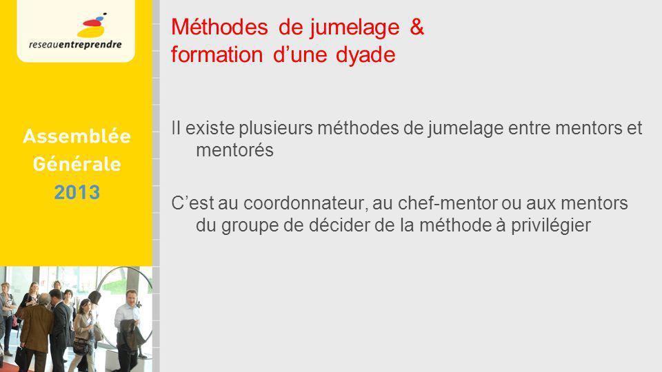 Il existe plusieurs méthodes de jumelage entre mentors et mentorés Cest au coordonnateur, au chef-mentor ou aux mentors du groupe de décider de la méthode à privilégier Méthodes de jumelage & formation dune dyade