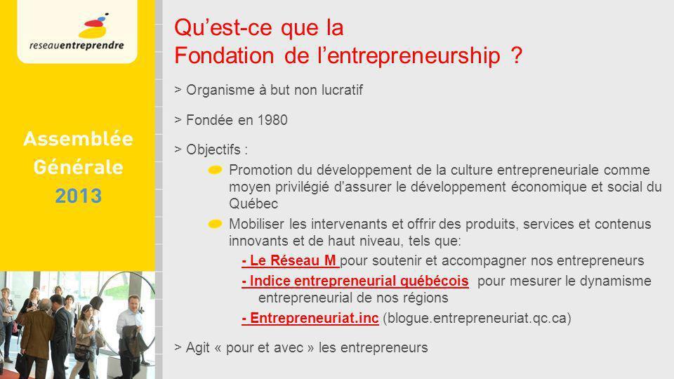 > Organisme à but non lucratif > Fondée en 1980 > Objectifs : Promotion du développement de la culture entrepreneuriale comme moyen privilégié d assurer le développement économique et social du Québec Mobiliser les intervenants et offrir des produits, services et contenus innovants et de haut niveau, tels que: - Le Réseau M pour soutenir et accompagner nos entrepreneurs - Indice entrepreneurial québécois pour mesurer le dynamisme entrepreneurial de nos régions - Entrepreneuriat.inc (blogue.entrepreneuriat.qc.ca) > Agit « pour et avec » les entrepreneurs Quest-ce que la Fondation de lentrepreneurship