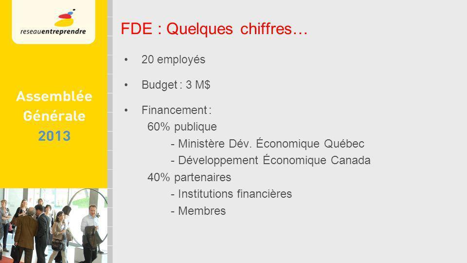 20 employés Budget : 3 M$ Financement : 60% publique - Ministère Dév.