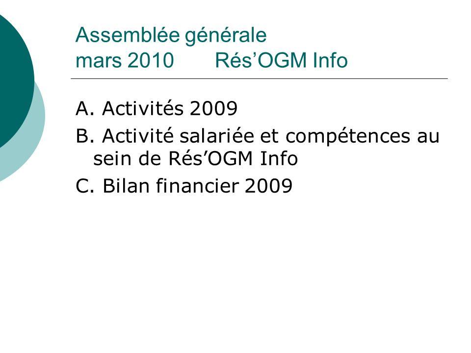 Assemblée générale mars 2010 RésOGM Info A. Activités 2009 B.