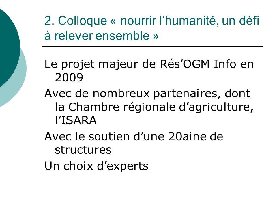 2. Colloque « nourrir lhumanité, un défi à relever ensemble » Le projet majeur de RésOGM Info en 2009 Avec de nombreux partenaires, dont la Chambre ré