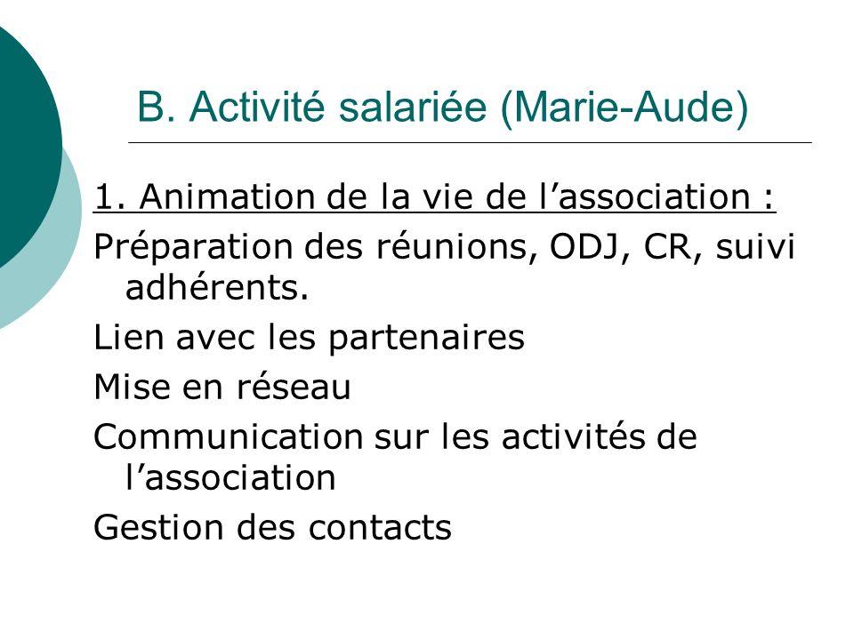B. Activité salariée (Marie-Aude) 1.