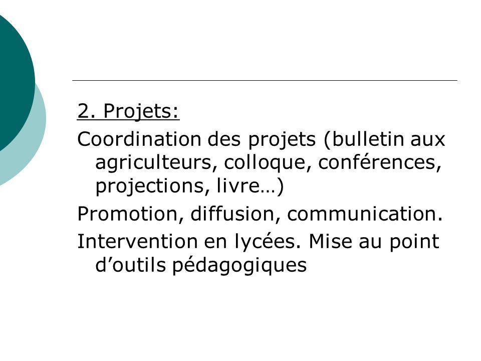 2. Projets: Coordination des projets (bulletin aux agriculteurs, colloque, conférences, projections, livre…) Promotion, diffusion, communication. Inte