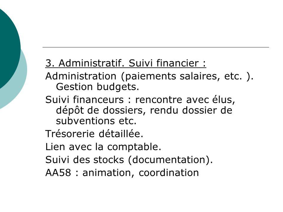 3. Administratif. Suivi financier : Administration (paiements salaires, etc.