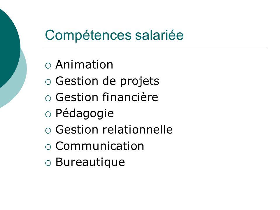 Compétences salariée Animation Gestion de projets Gestion financière Pédagogie Gestion relationnelle Communication Bureautique