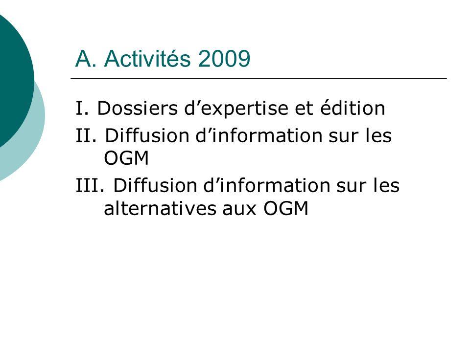 A. Activités 2009 I. Dossiers dexpertise et édition II.