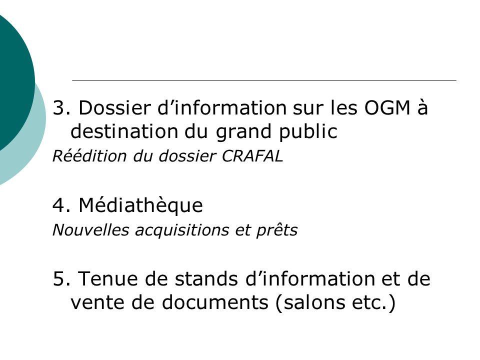 3. Dossier dinformation sur les OGM à destination du grand public Réédition du dossier CRAFAL 4.