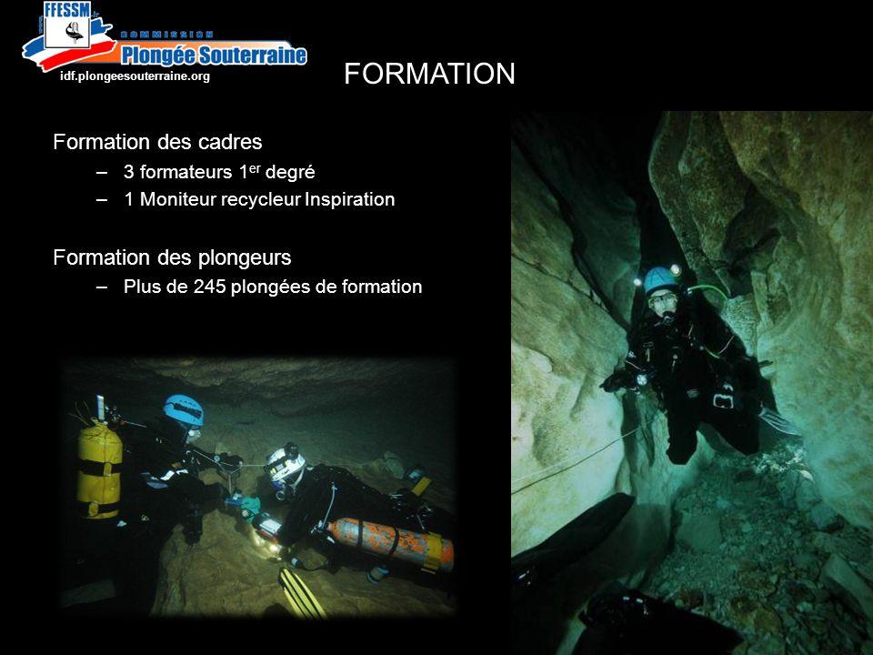 Formation des cadres –3 formateurs 1 er degré –1 Moniteur recycleur Inspiration Formation des plongeurs –Plus de 245 plongées de formation FORMATION http://idf.plongeesouterraine.org
