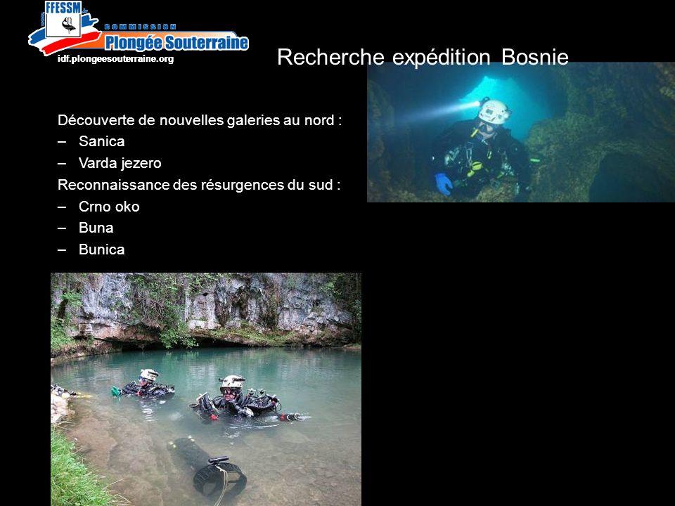 Découverte de nouvelles galeries au nord : –Sanica –Varda jezero Reconnaissance des résurgences du sud : –Crno oko –Buna –Bunica http://idf.plongeesouterraine.org Recherche expédition Bosnie