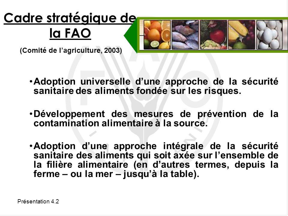 Présentation 4.2 Le Service de la qualité des aliments et des normes alimentaires de la Division de lalimentation et de la nutrition de la FAO oeuvre en faveur : de laide technique et du renforcement des capacités en matière de qualité et dinnocuité des aliments Aide technique de la FAO ESNS