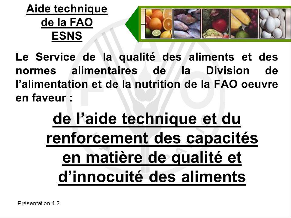 Présentation 4.2 Accord sur lapplication des mesures sanitaires et phytosanitaires (SPS) Accord sur les obstacles techniques au commerce (OTC) Les normes et règlements nationaux qui sont équivalents au Codex satisfont aux dispositions des accords SPS et OTC Accords de lOMC
