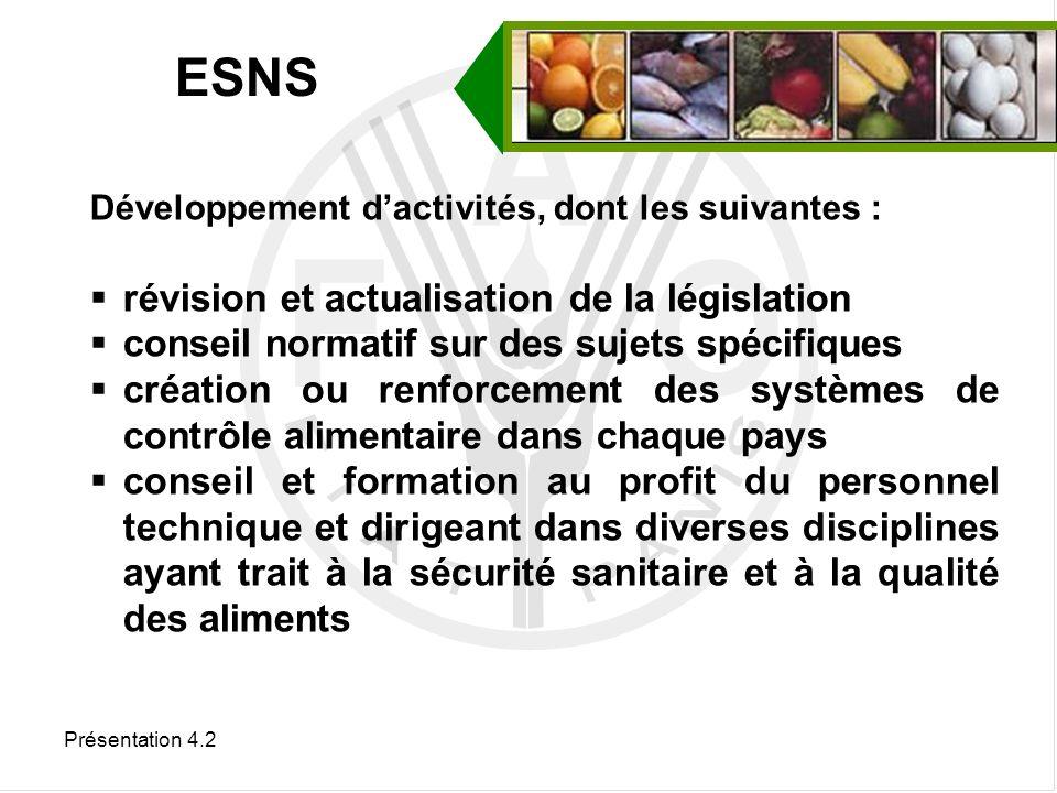 Présentation 4.2 Organisation d activités, dont les suivantes : Harmonisation des règlements et normes alimentaires par référence au Codex et à d autres instruments normatifs internationaux ; Conduite d études et de recherches appliquées sur des sujets spécifiques ayant trait aux aliments.