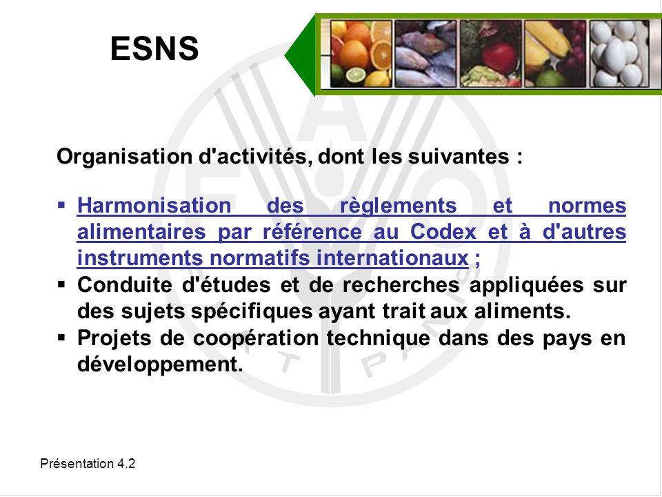 Présentation 4.2 Travaux de la Commission du Codex Alimentarius liés à la sécurité sanitaire des fruits et légumes frais