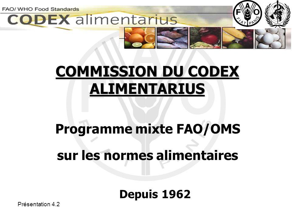Présentation 4.2 Limites maximales de résidus de pesticides et de contaminants pour un grand nombre de fruits et légumes (http://apps.fao.org/CodexSystem/pestdes/pest_q-e.htm) Directives concernant la production, la transformation, l étiquetage et la commercialisation des aliments issus de l agriculture biologique (http://www.fao.org/docrep/005/y2772e/y2772e00.htm) Code de conduite international pour la distribution et l utilisation des pesticides (http://www.fao.org/ag/agp/agpp/Pesticid/Default.htm)