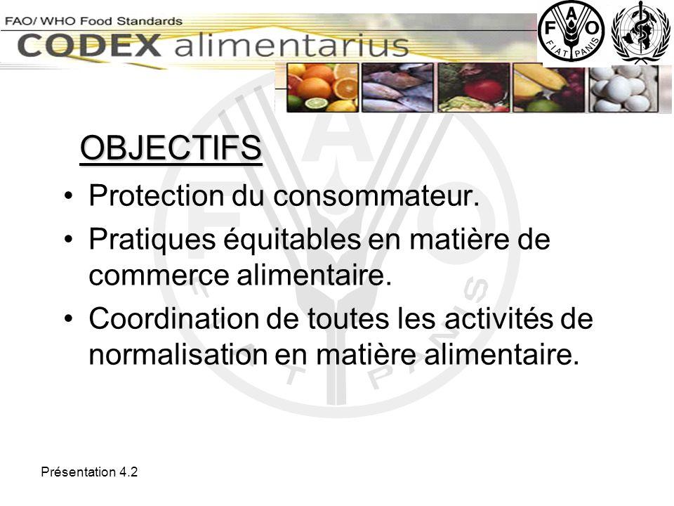 Présentation 4.2 Dans le domaine des normes de qualité commerciales : Vingt-deux normes (http://www.codexalimentarius.net/standard_list_fr.asp) http://www.codexalimentarius.net/standard_list_fr.aspCode dusages international recommandé pour lemballage et le transport des fruits et légumes frais ( http://www.codexalimentarius.net/standard_list_fr.asp) Normes en cours délaboration ( http://www.codexalimentarius.net/ccffv10/ff02_01f.htm)
