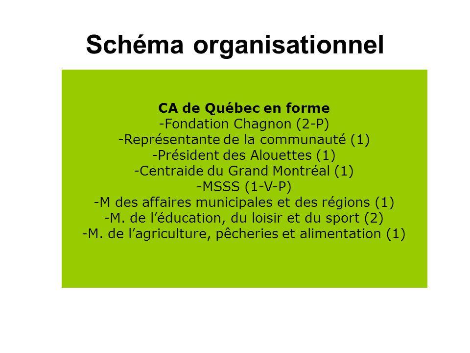 Schéma organisationnel CA de Québec en forme -Fondation Chagnon (2-P) -Représentante de la communauté (1) -Président des Alouettes (1) -Centraide du Grand Montréal (1) -MSSS (1-V-P) -M des affaires municipales et des régions (1) -M.