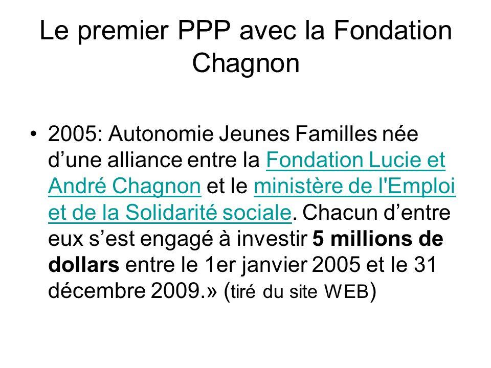 Le premier PPP avec la Fondation Chagnon 2005: Autonomie Jeunes Familles née dune alliance entre la Fondation Lucie et André Chagnon et le ministère de l Emploi et de la Solidarité sociale.