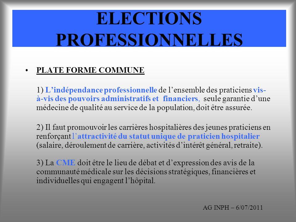 ELECTIONS PROFESSIONNELLES PLATE FORME COMMUNE 1) Lindépendance professionnelle de lensemble des praticiens vis- à-vis des pouvoirs administratifs et