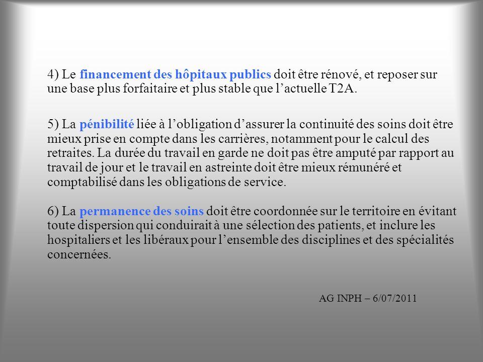4) Le financement des hôpitaux publics doit être rénové, et reposer sur une base plus forfaitaire et plus stable que lactuelle T2A. 5) La pénibilité l