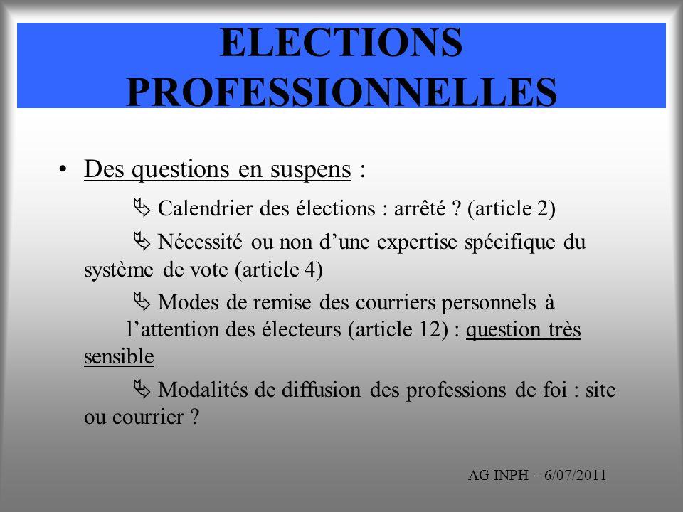 ELECTIONS PROFESSIONNELLES Des questions en suspens : Calendrier des élections : arrêté ? (article 2) Nécessité ou non dune expertise spécifique du sy