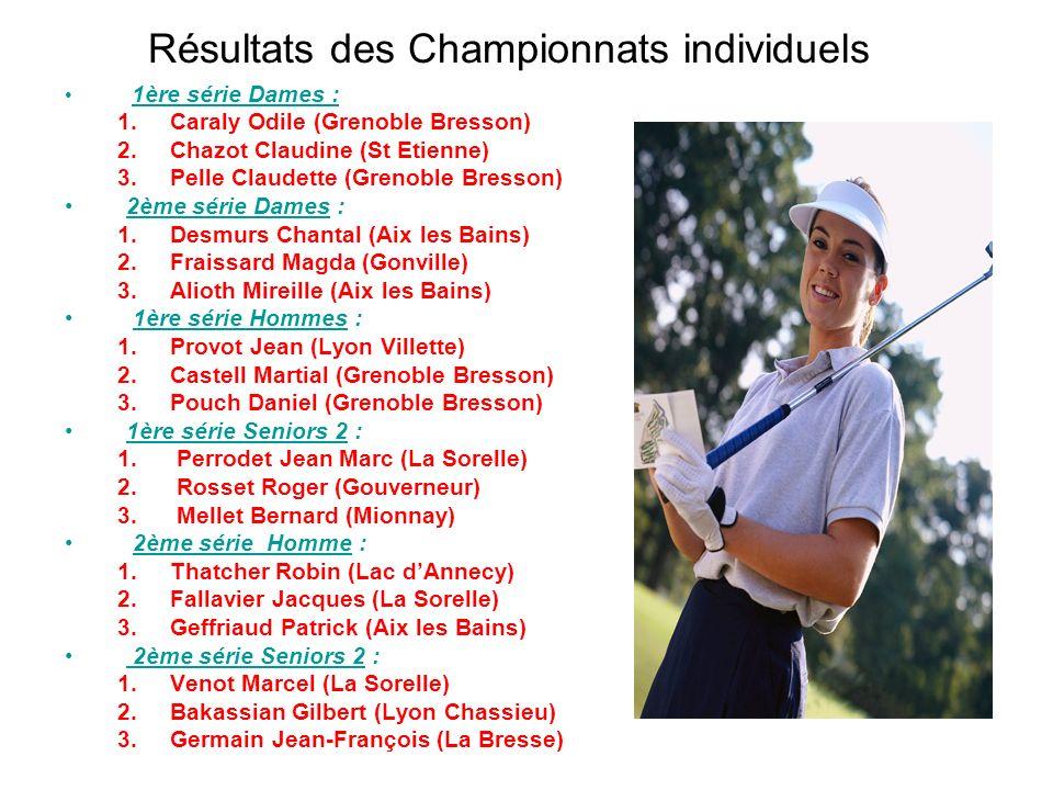Résultats des Championnats individuels 1ère série Dames : 1.Caraly Odile (Grenoble Bresson) 2.Chazot Claudine (St Etienne) 3.Pelle Claudette (Grenoble