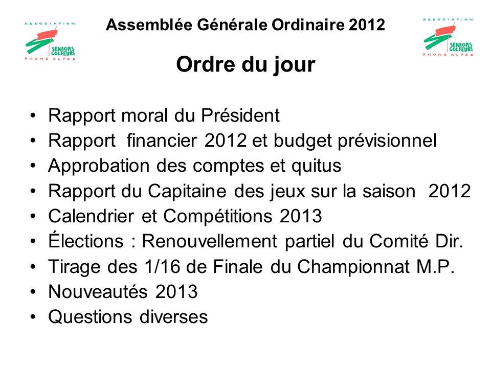 Assemblée Générale Ordinaire 2012 Ordre du jour Rapport moral du Président Rapport financier 2012 et budget prévisionnel Approbation des comptes et qu