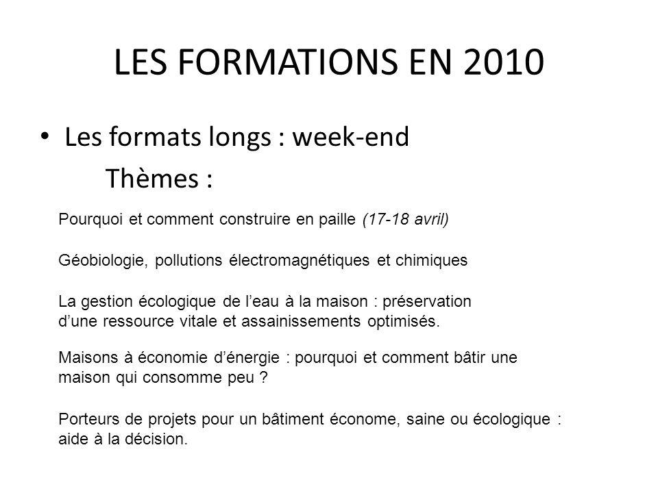 LES FORMATIONS EN 2010 Les formats longs : week-end Thèmes : Pourquoi et comment construire en paille (17-18 avril) Géobiologie, pollutions électromag