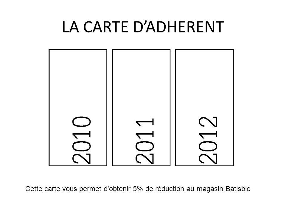 Cette carte vous permet dobtenir 5% de réduction au magasin Batisbio