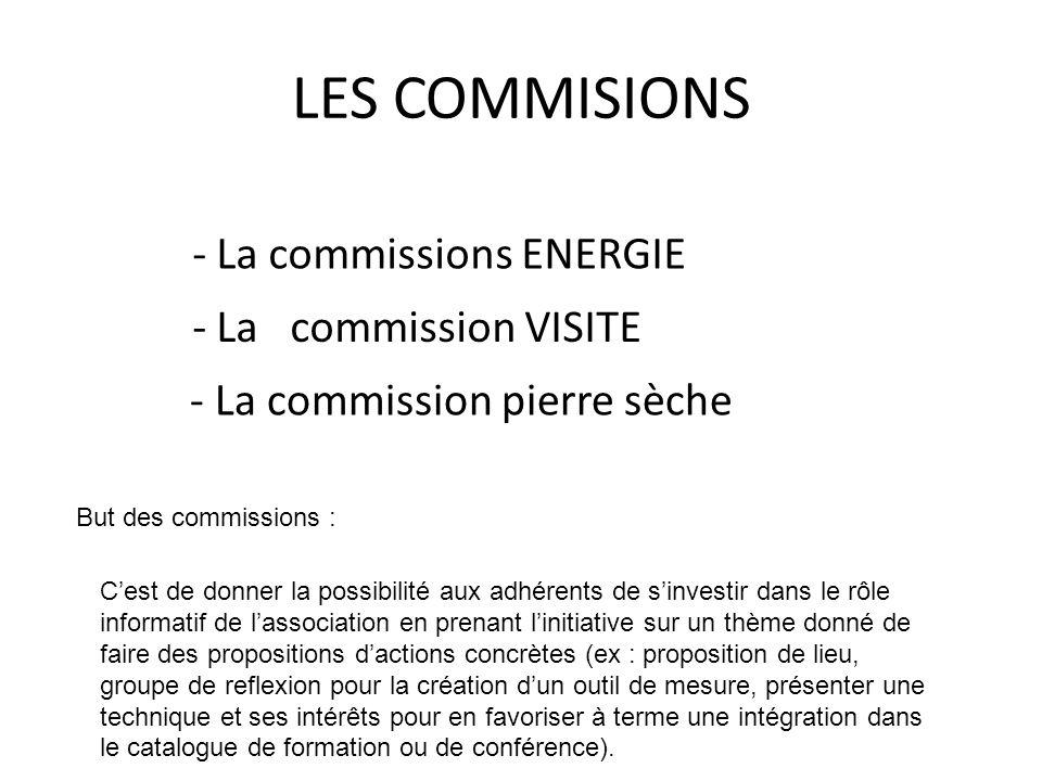LES COMMISIONS - La commissions ENERGIE - La commission VISITE - La commission pierre sèche But des commissions : Cest de donner la possibilité aux ad