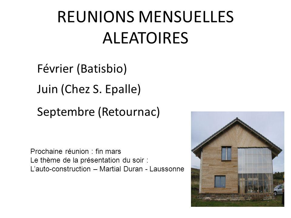 REUNIONS MENSUELLES ALEATOIRES Février (Batisbio) Juin (Chez S. Epalle) Septembre (Retournac) Prochaine réunion : fin mars Le thème de la présentation