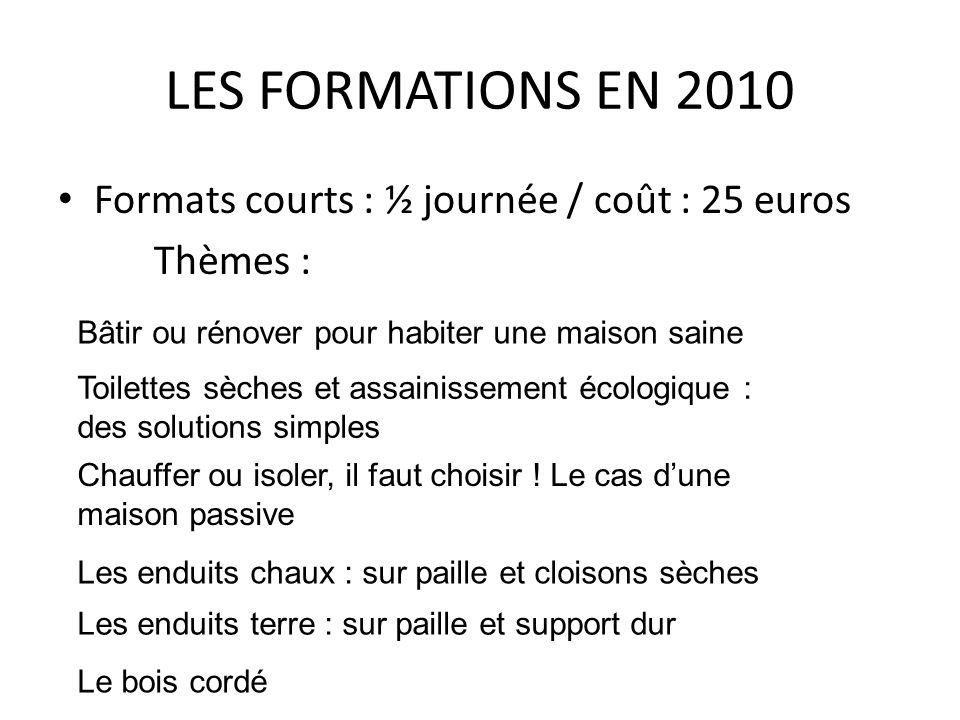 LES FORMATIONS EN 2010 Formats courts : ½ journée / coût : 25 euros Thèmes : Bâtir ou rénover pour habiter une maison saine Toilettes sèches et assain