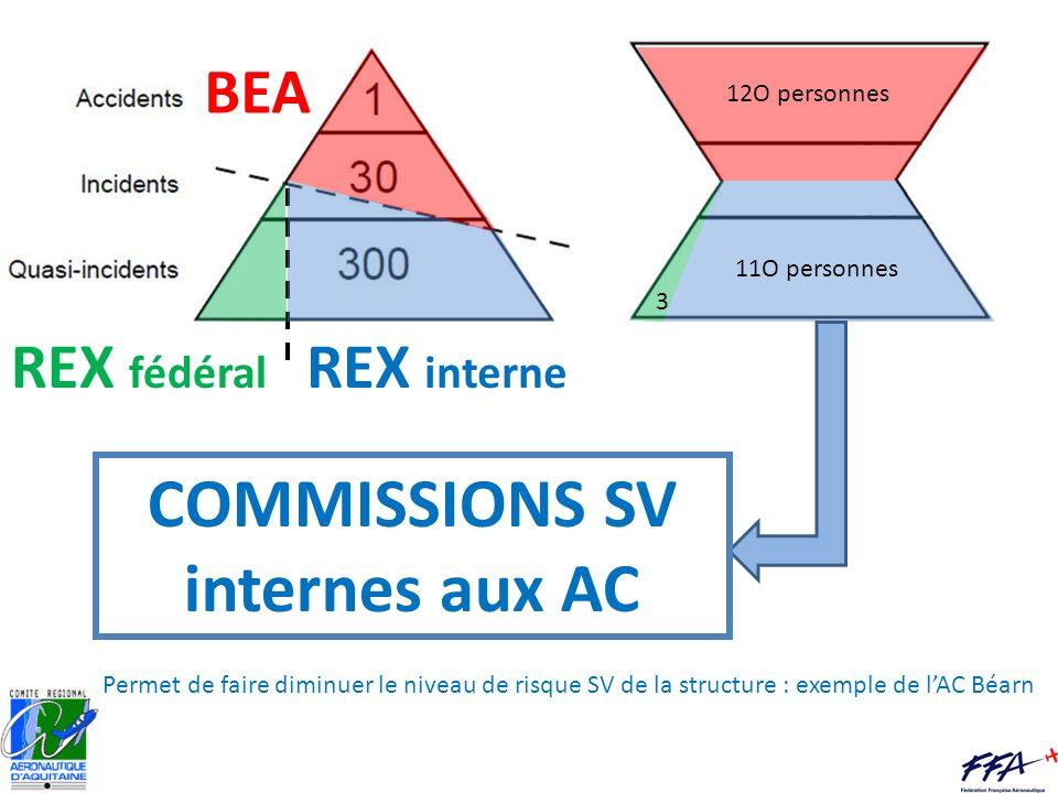BEA REX fédéral REX interne 12O personnes 11O personnes 3 COMMISSIONS SV internes aux AC Permet de faire diminuer le niveau de risque SV de la structu