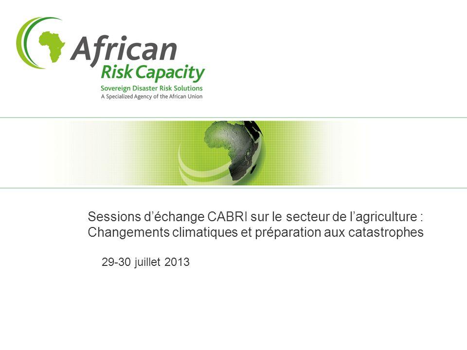 Sessions déchange CABRI sur le secteur de lagriculture : Changements climatiques et préparation aux catastrophes 29-30 juillet 2013