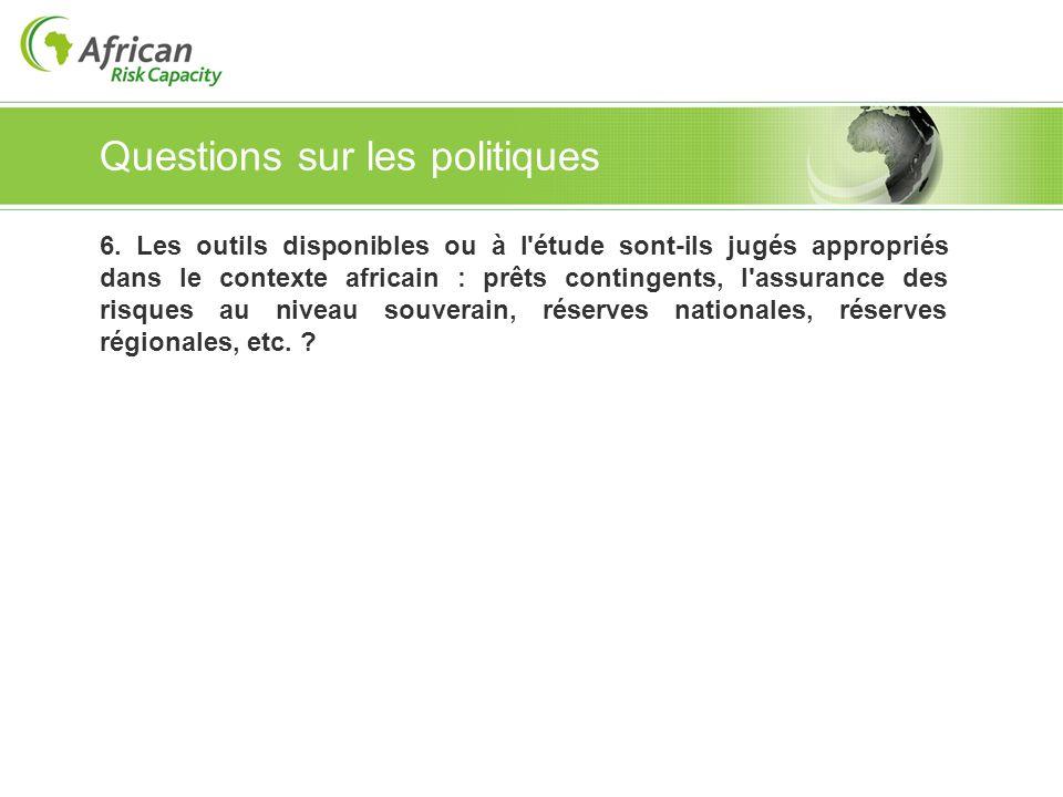 Questions sur les politiques 6. Les outils disponibles ou à l'étude sont-ils jugés appropriés dans le contexte africain : prêts contingents, l'assuran