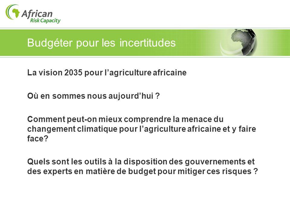 Budgéter pour les incertitudes La vision 2035 pour lagriculture africaine Où en sommes nous aujourdhui ? Comment peut-on mieux comprendre la menace du