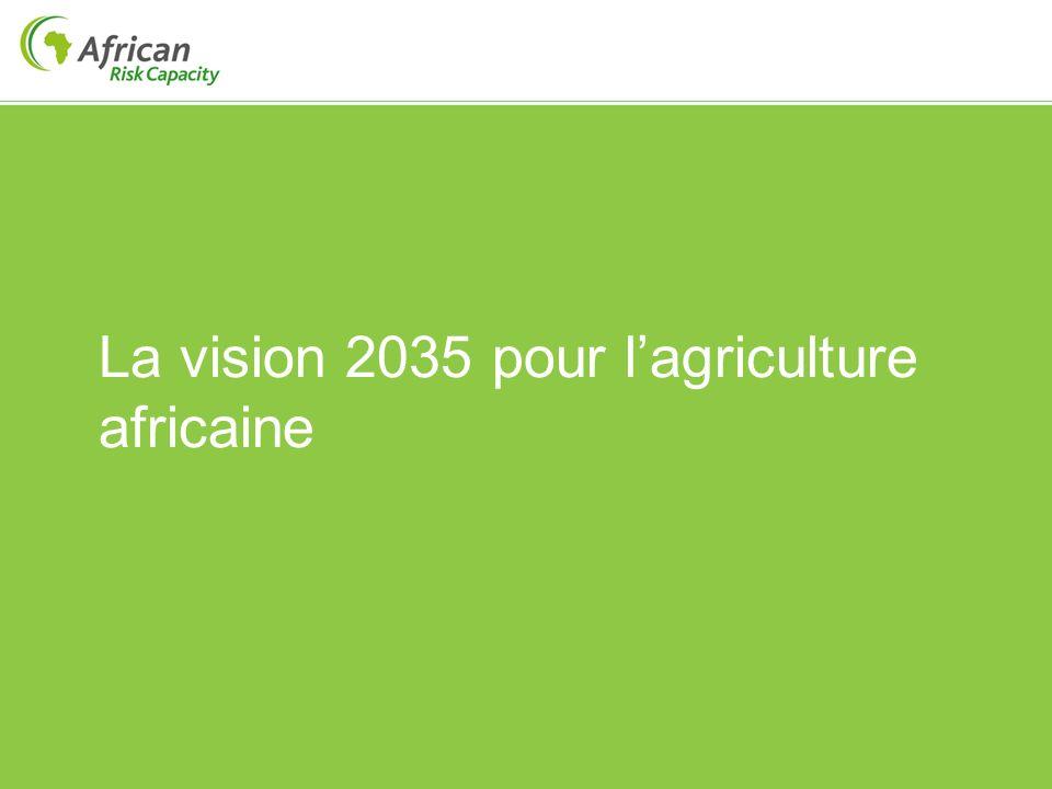 La vision 2035 Nous avons atteint la sécurité alimentaire et nous exportons vers les pays voisins depuis plusieurs années Nous avons des bourses de matières premières régionales opérationnelles et efficientes Nous avons amélioré la capacité nationale dans les industries de transformation des cultures principales et avons ainsi augmenté de manière exponentielles les revenus issus de lagriculture Nous sommes parmi les cinq premiers producteurs de noix de cajou, de café, de riz, etc.