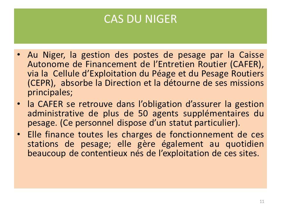1.la sensibilisation: Les FER ont participé directement aux actions de sensibilisation (Bénin, Niger, Mali, Côte dIvoire, Togo) et dans la plupart des cas au financement de ces actions ; 2.le financement des équipements de contrôle des charges à lessieu: Les FER ont contribué au financement dacquisition de pèse essieux (Mali, Ghana, Niger, Côte dIvoire, Bénin) ; 3.lexploitation directe des stations de pesage: Cest le cas au Mali et au Niger où des structures rattachées aux FER sont chargées dappliquer les textes réglementaires en matière du contrôle des charges à lessieu.