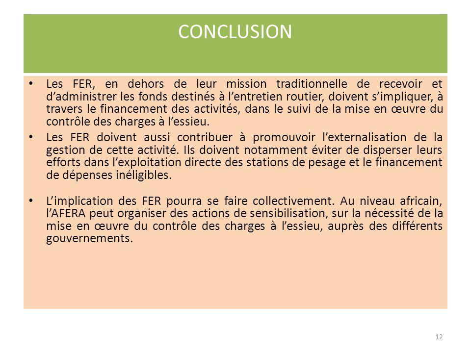 Au Niger, la gestion des postes de pesage par la Caisse Autonome de Financement de lEntretien Routier (CAFER), via la Cellule dExploitation du Péage et du Pesage Routiers (CEPR), absorbe la Direction et la détourne de ses missions principales; la CAFER se retrouve dans lobligation dassurer la gestion administrative de plus de 50 agents supplémentaires du pesage.