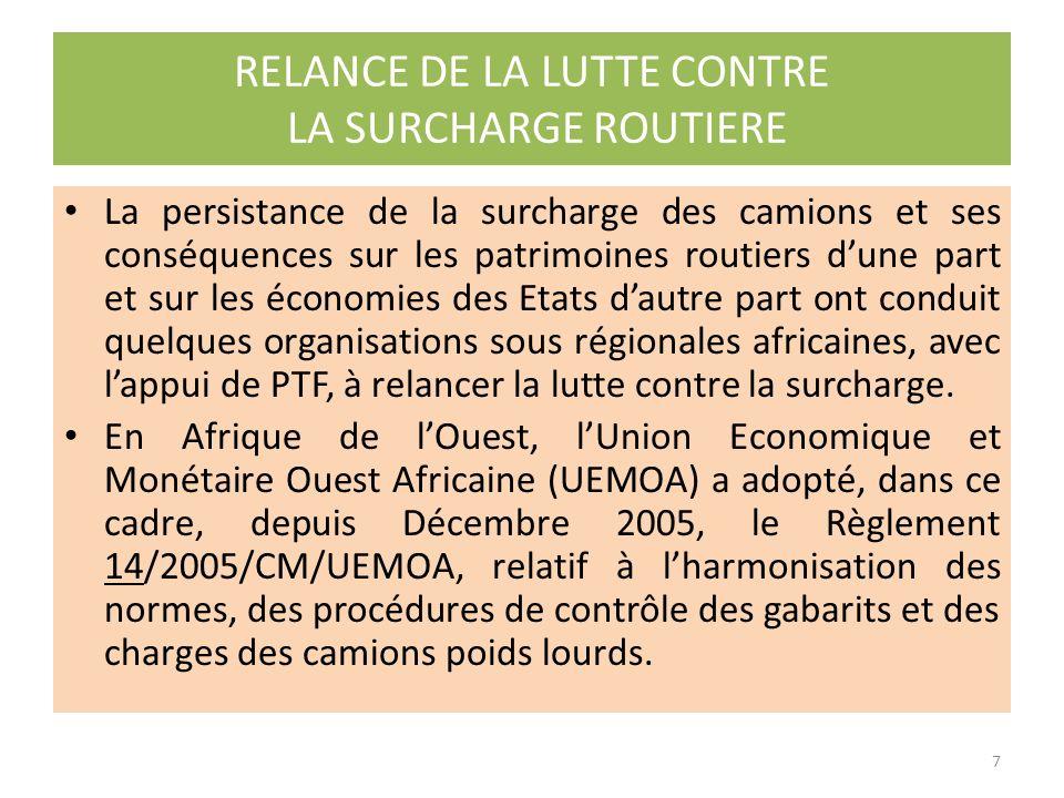 Certaines organisations sous régionales Africaine, inspirées par les travaux de la CNUCED, dans le cadre de la facilitation des transports en transit, ont également identifié la surcharge comme un phénomène à risque et un frein pour le développement des échanges régionaux.