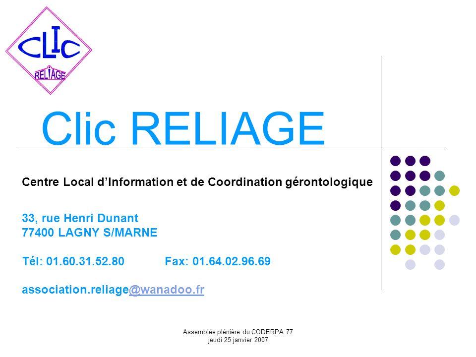 Assemblée plénière du CODERPA 77 jeudi 25 janvier 2007 Clic RELIAGE Centre Local dInformation et de Coordination gérontologique 33, rue Henri Dunant 7
