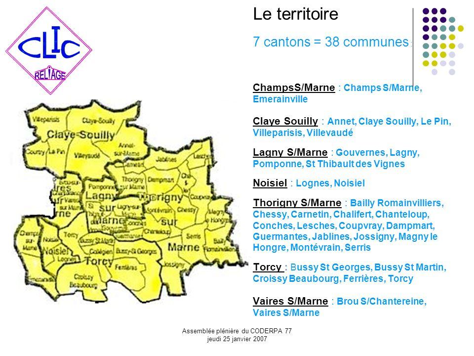 Assemblée plénière du CODERPA 77 jeudi 25 janvier 2007 Le territoire 7 cantons = 38 communes : ChampsS/Marne : Champs S/Marne, Emerainville Claye Soui