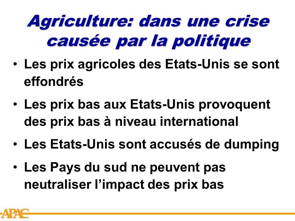 APCA Agriculture: dans une crise causée par la politique Les prix agricoles des Etats-Unis se sont effondrés Les prix bas aux Etats-Unis provoquent de