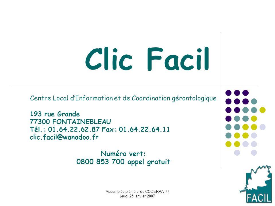 Assemblée plénière du CODERPA 77 jeudi 25 janvier 2007 Clic Facil Centre Local dInformation et de Coordination gérontologique 193 rue Grande 77300 FON