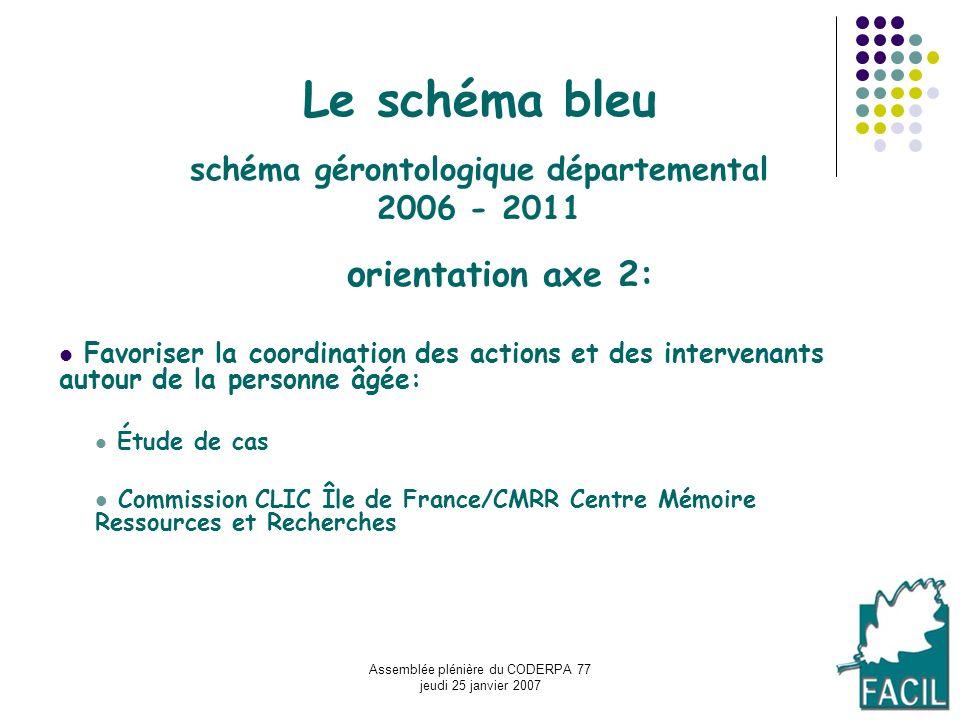 Assemblée plénière du CODERPA 77 jeudi 25 janvier 2007 Le schéma bleu schéma gérontologique départemental 2006 - 2011 o rientation axe 2: Favoriser la